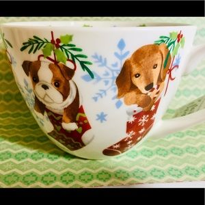 Puppy Dogs in Xmas Stockings Large Bone China Mug